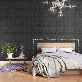 Brush Dot Pattern Black Wallpaper