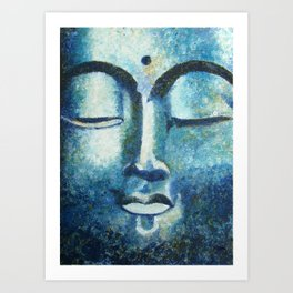 Blue Buddha Portrait Face Zen Spiritual Mysticism Peaceful Buddhism Meditation Art Print