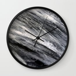 Smoky Black Streaks of Marble With Cream Accents Wall Clock