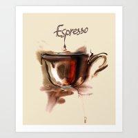 coffe Art Prints featuring coffe by tatiana-teni