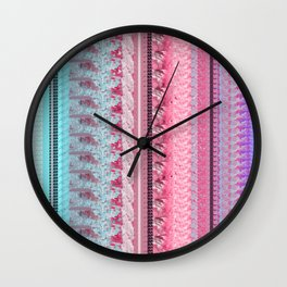 Pastel Quilt Design in Pink, Purple, Blue Wall Clock