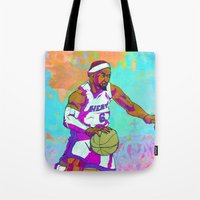 lebron Tote Bags featuring LeBron James by Maddison Bond