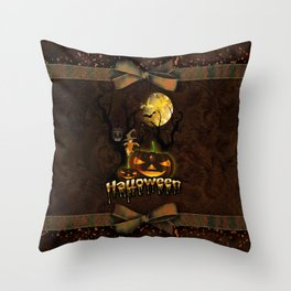 Halloween, funny pumpkin with owl Throw Pillow