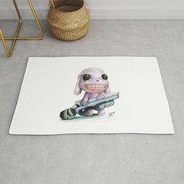 Little Dog..Big Gun | Illustration Painting Rug