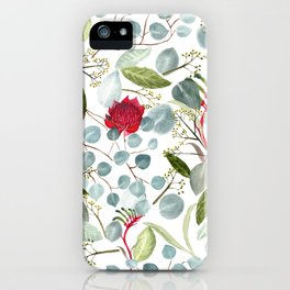 Eucalyptus Kangaroo paw watercolor floral design iPhone Case
