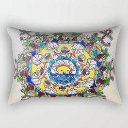 Colorful Beach Mandala on Wood Rectangular Pillow