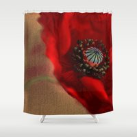 romantic Shower Curtains featuring Poppies(romantic). by Mary Berg