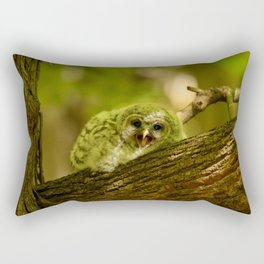 Baby owl yawn Rectangular Pillow