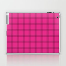Black Grid on Bright Pink Laptop & iPad Skin