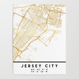 JERSEY CITY NEW JERSEY STREET MAP ART Poster