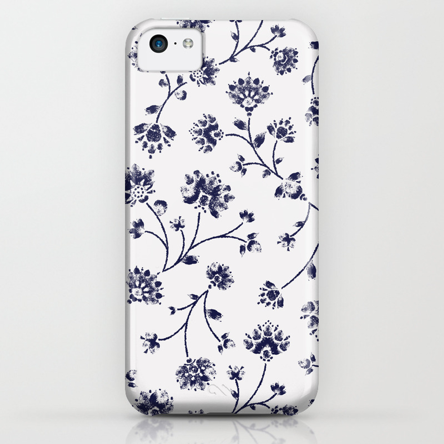 05529726f Indigo Floral Trail (reversed) iPhone Case by rebeccastoner | Society6