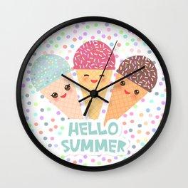 Hello Summer Kawaii Ice cream waffle cone Wall Clock