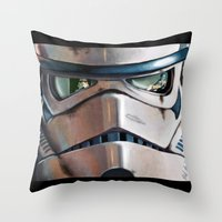 stormtrooper Throw Pillows featuring Stormtrooper by Mel Hampson