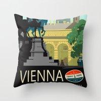 vienna Throw Pillows featuring Visit Vienna by Duke Dastardly