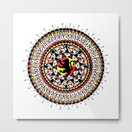 Gryffindor Inspired Fan-art Yellow, Red, and Black Mandala Metal Print