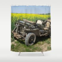 jeep Shower Curtains featuring Willys MB Jeep by EMangl