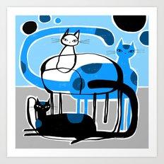 BLUE & BLACK & WHITE Art Print