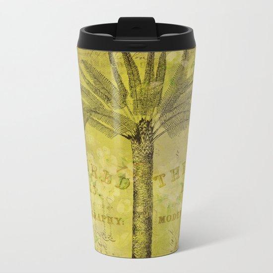 Vintage Journey palmtree typography travel collage Metal Travel Mug