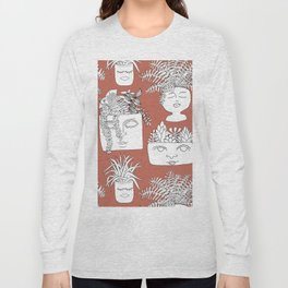 Illustrated Plant Faces in Terracotta Long Sleeve T-shirt