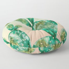 Gold Cactus | Peach and Green Background Floor Pillow