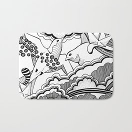 Swallows in the clouds Bath Mat
