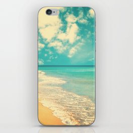 Waves of the sea (retro beach and blue sky) iPhone Skin