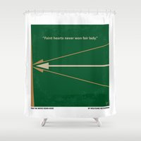 robin hood Shower Curtains featuring No237 My Robin Hood minimal movie poster by Chungkong