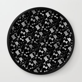 Hipster Elements Pattern silver on black Wall Clock