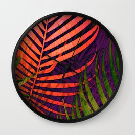COLORFUL TROPICAL LEAVES no5 Wall Clock