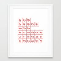 periodic table Framed Art Prints featuring Periodic Table of Arsenal by jamestan14
