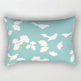 Birds and Branches Botanical Turquoise Rectangular Pillow