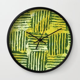 Yellow green striped squares Wall Clock