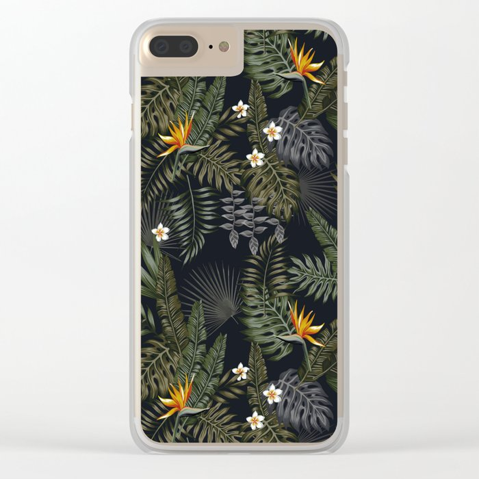 night tropical pattern Clear iPhone Case