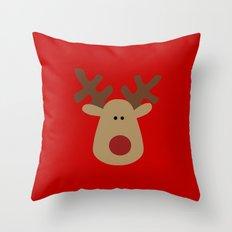 Christmas Reindeer-Red Throw Pillow