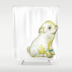 Pig Illustration Shower Curtain
