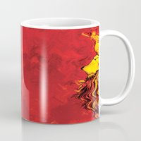 lion king Mugs featuring Lion King by RICHMOND ART STUDIO