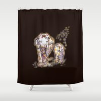 ornate elephant Shower Curtains featuring Elephant Mom by Harsh Malik