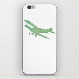 Green nursery airplane wall art print vintage iPhone Skin