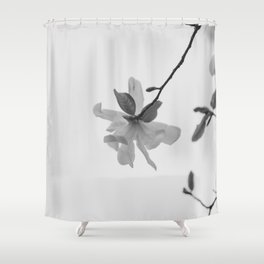 In the Moment - Magnolia in black and white Shower Curtain