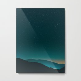 Beautiful Vintage Night Star Sky Turquoise Sky With Mountain Silhouette Metal Print