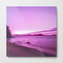 Neon Japan Beach Landscape at Sunset| Vaporwave Aesthetic Metal Print