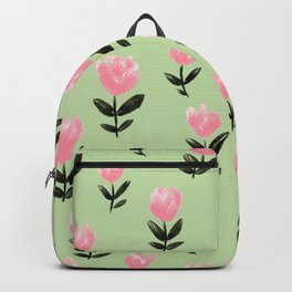 Pink Pixie Flower Pattern On Pastel Spring Green Backpack