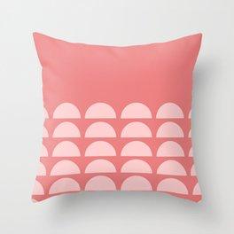 Sweet Pink Half Moon Minimalist Monochromatic Patter Throw Pillow