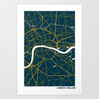 london map Art Prints featuring London Map by Studio Tesouro