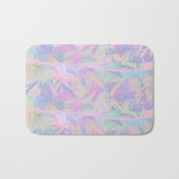 Painterly Soft Floral Waves Abstract Bath Mat