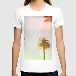 Neon Lights Palm Trees (Color) T-shirt