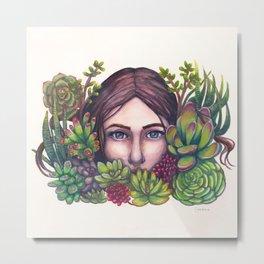 Floral Faces - Secret Garden Metal Print