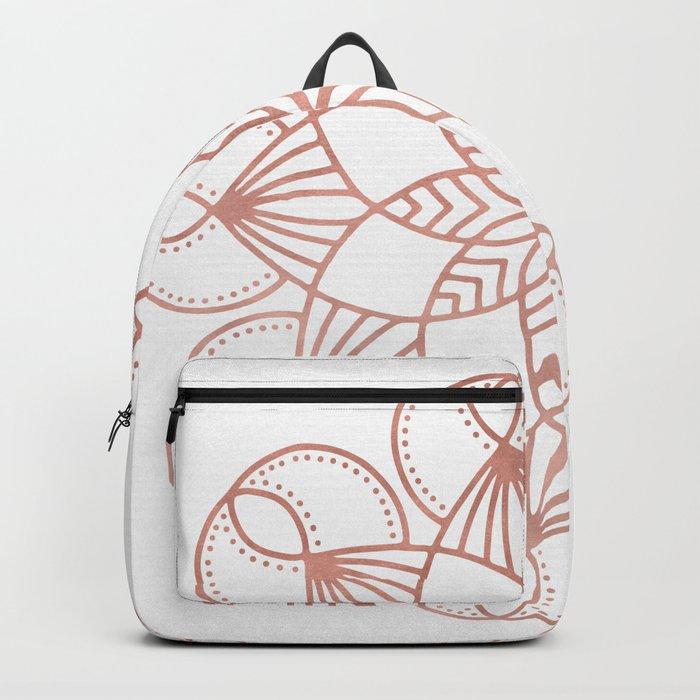 Mandala Flowery Vine Rose Gold on White Backpack