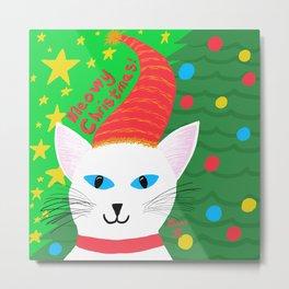Christmas Cat short white hair blue eyes Metal Print
