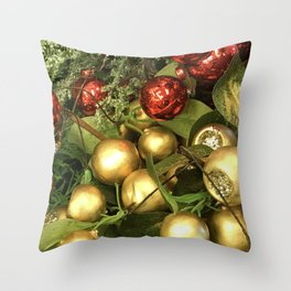 Contemporary Christmas Ornaments in Holiday Red and Gold Throw Pillow